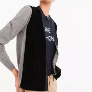 J.Crew Harlow Cardigan In Merino Wool with Velvet front Size Small